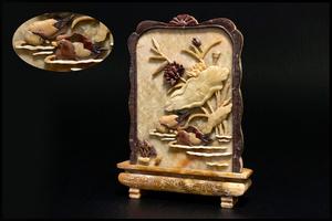 ◆天香楼◆青田石荷鳥彫硯屏 経年時代物 唐物AG2270
