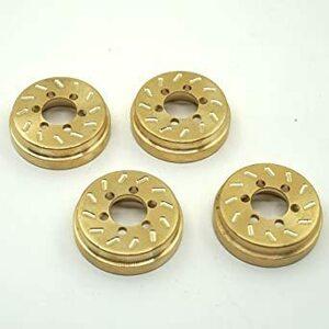 新品 4個 1 10 RCロッククローラー用パーツ ラジコンカー ブラス黄銅金属ホイールハブ重量ウエート増加重い部品HAB0