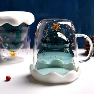 ユニーク クリスマス マグカップ2個 クリスマスツリー ペア パーティー 乾杯 かわいい ガラス グラス コップ 雪の結晶 M3109a 315