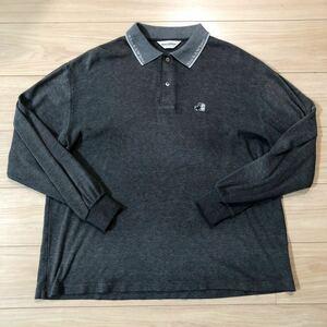 Black&White ブラック&ホワイト ゴルフウェア ゴルフシャツ 長袖シャツ ポロシャツ LLサイズ ダークグレー 日本製 美品