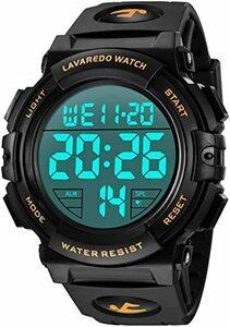 02.ゴールド 腕時計 メンズ デジタル スポーツ 50メートル防水 おしゃれ 多機能 LED表示 アウトドア 腕時計