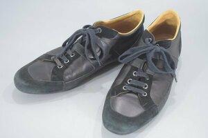 本物保証 HERMES エルメス パートナー サイズ 42 1/2 (27.0cm) レザー×スウェード Hロゴ レースアップ スニーカー メンズ 黒 靴 RD-620Go2