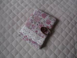 ハンドメイド カードケース●小花●綿麻●ピンク
