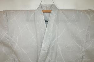 壱日5833 現代お召 男着物単衣 裄73丈146К薄羽色「氷」 新品格上物 綿と化繊の混紡でお召の単衣に 夜になお映える