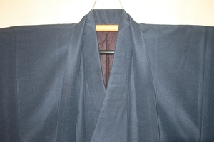 弐5824 本絹加賀白山紬男着物羽織 裄64丈139К藍瑠璃飴糸 現代物 胴囲細目