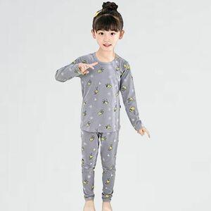 新品 未使用 パジャマ 子供服 W-LK (ライトグレ-, 90) 女児 ル-ムウェア 男の子 長袖 ねまき 上下セット キッズ トップス パンツ