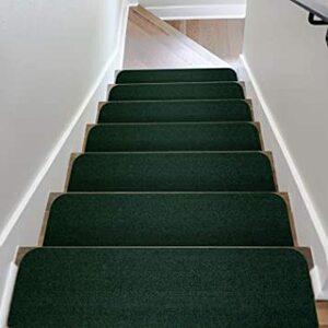 モスグリーン 階段用 ステップマット 滑り止め付き 日本製 コード柄吸着階段マット 15枚セット 約20×70cm モスグリーン