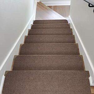 ブラウン 階段用 ステップマット 滑り止め付き 日本製 コード柄吸着階段マット 15枚セット 約20×70cm ブラ