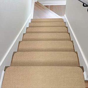 ベージュ 階段用 ステップマット 滑り止め付き 日本製 コード柄吸着階段マット 15枚セット 約20×70cm ベー