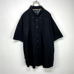 TOMMY HILFIGER チェック ボタンダウン 半袖 シャツ XLサイズ ブラック 黒 トミーヒルフィガー 古着 メンズ 大きい ビッグ オーバー サイズ