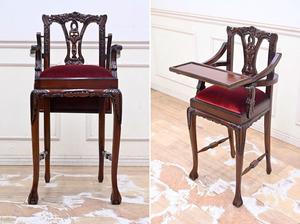 ZL09 展示品 美品 ロココ調 クラシック 彫刻 ベビーチェア 子供椅子 ハイチェア アンティーク調