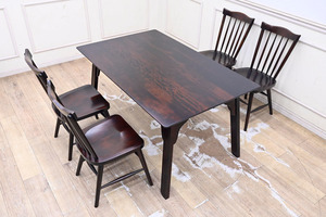 GL11 新品ネット価格33万円 北海道民芸家具 樺無垢 ダイニングセット 食卓テーブル 食卓椅子 4脚 5点セット