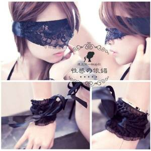 Soft SM Covered Lace Eye Mask & Cufflink (Handcuff) Blindfold Restraint Bondage Sexy Cosplay Goth Lori Black