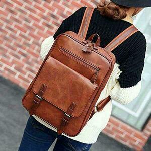 男女兼用PUレザー リュック バッグ ビジネス 耐用鞄 パソコン ブラウン