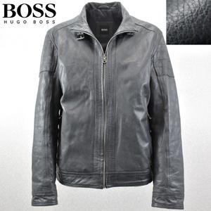 相場価格¥160,000- 美品 HUGO BOSS ヒューゴボス 山羊革 ゴートスキン シングルライダースジャケット 中綿入 紺 52(JP:LL程度)