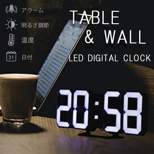 置時計 3D LED デジタル 置き時計 目覚まし 温度計 おしゃれ 壁掛け時計 アラーム 北欧 ウォールクロック ブラック