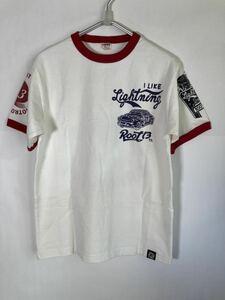【未使用】MWS リンガーTシャツ 稲妻フェスティバル lightning ライトニング 白赤S 半袖