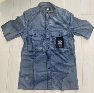 新品未使用 国内正規品 ジースターロゥ メンズ 半袖シャツ XS~Sサイズ タグ付き G-STAR RAW NAVY ワークシャツ シャツ
