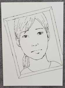 Female hand drawn pen picture B6