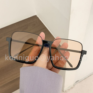 1円スタート新品復旧超大型フレーム ブルーライト レトロメガネフレーム スクエア凹型サングラス YJ09