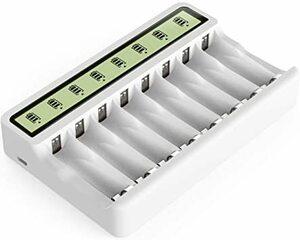 ホワイト Powerowl急速電池LCD充電器単三単四ニッケル水素/ニカド充電池に対応 8本同時充電可能 電池寿命を効果的に向上