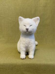 羊毛フェルト*ねこ*猫*白猫*ハンドメイド