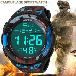 Hy203:男性 アナログ led デジタル 軍事 陸軍 スポーツ 屋外 防水 腕時計 機械式 スポーツウォッチ