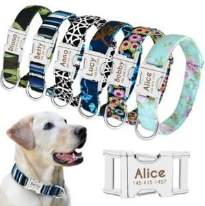 Mz2309:犬の首輪 ナイロンペット犬のタグ 首輪 子犬猫のネームプレート ID 中型 大型犬用 調整可能な首輪刻印