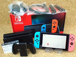 ☆【中古 美品】新型 任天堂 Nintendo Switch Joy-Con[L] ネオンブルー/[R] ネオンレッド 付属品未使用 HAD-S-KABAA 本体(LZ331-19)