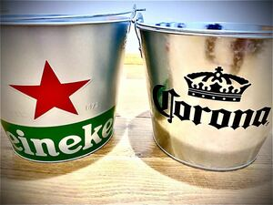 【非売品★Wネームアイスバケツ!】 Heineken&Corona【何と!栓抜き付き!】ハイネケン&コロナビール【残り少々】