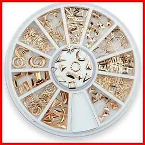 Takarafune ネイルアート ネイル パーツ ローズゴールド メタルスタッズ セットビジュー ジェルネイル 3Dネイルデコレーション 12種類