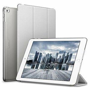 シルバーグレー ESR iPad Air2 ケース クリア PUレザー [スタンド機能 オートスリープ] (シルバーグレー)