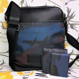 COACH迷彩柄 ショルダーバッグ カモフラージュ クロスボディーコーチ F37614&迷彩財布/カードケース