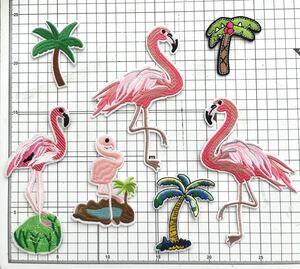 フラミンゴ アイロンワッペン 幼稚園 刺繍ワッペン アップリケ