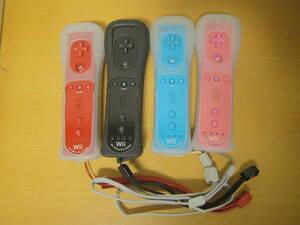Wii リモコンプラス 4本 動作確認済み ジャケット ストラップ 付属 (アカ、クロ、アオ、ピンク)