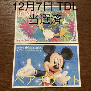 ☆当選済 12月7日 ディズニーランド ペアチケット 1デーパスポート の商品画像