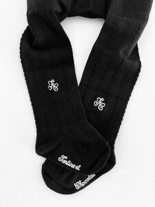 【Free Shipping】 New ☆ Tartine Eyoko Color Logo Embroidered Black Tights