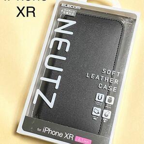 iPhone XR ケース ソフトレザー マグネット付き スタンド機能 ブラック