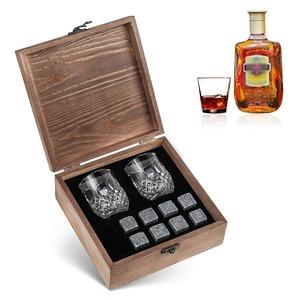 高品質 グラスセット アイスキューブ 再利用可能アイス ウイスキー ワイン ビール ジュース 木製ボックス マドラー M4013a 413