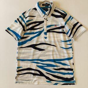 ルコックスポルティフ メンズL ゴルフウェア 半袖 ポロシャツ 青 白 ゴルフシャツ