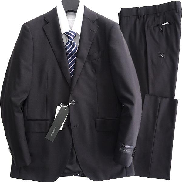新品 ヒルトン Super120'S メリノ ウール スーツ A7(LL) 黒 【J57498】 HILTON セットアップ 秋冬 メンズ ビジネス シングル 無地