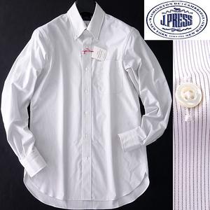 新品 1.4万 ジェイプレス 日本製 PREMIUM PLEATS ストライプ BD ドレスシャツ 39-84(M) 白 茶 【I57807】 J.PRESS シャツ メンズ 形態安定