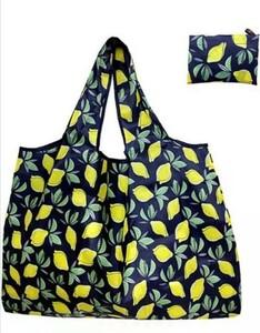 買い物袋折りたたみ簡単 エコバッグ 大容量 ショッピングバッグ レモン柄1枚