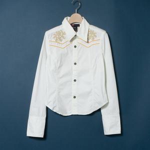 DIESEL ディーゼル シャツ 長袖 カウボーイ ウエスタン トップス カジュアル 中国製 M コットン 綿 ホワイト 白
