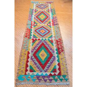 アフガニスタンキリム 手織りキリム キッチンラグ 廊下カーペットSIZE 195cm× 62cm STN:155