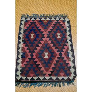 アフガニスタンラグ 手織りキリム 玄関マット size:95x77cm ST:338