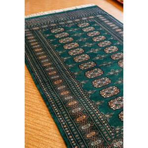 パキスタン手織り絨毯 ボハラ デザイン カーペット アクセントラグ size: 150cm× 96cm stn: 5004