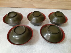 木製 汁椀 抹茶色 年代物