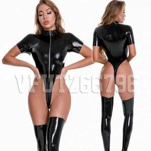XXLサイズ ブラック 超sexy ハイレグレオタード 肌触りいい 滑らかな光沢 長袖 ZIP付き ボディライン強調 レースクイーン 水着 スク水