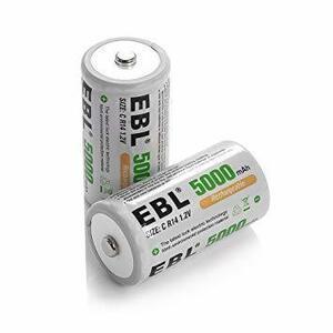 特別価格!単2形充電池2個 EBL 単1形 充電式ニッケル水素電池 2個入 電池保管ケース付き(容量10000mAh、約1V66T